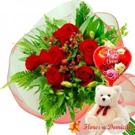 Ramo 6 Rosas Rojas + Globo día de la madre y Peluche