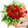 Ramo 12 Rosas Rojas + Globo día de la madre y Peluche