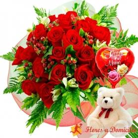Ramo 24 Rosas Rojas + Globo día de la madre y Peluche