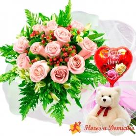 Ramo 12 Rosas Rosadas más Globo día de la madre y Peluche