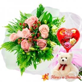 Ramo 6 Rosas Rosadas más Globo día de la madre y Peluche