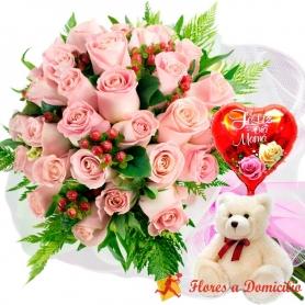 Ramo de 24 Rosas Rosadas más Globo día de la Madre y Peluche