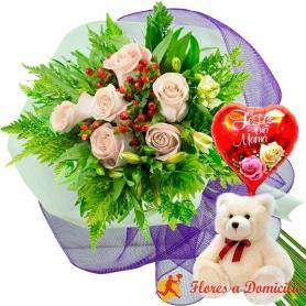 Ramo 6 Rosas Blancas más Globo día de la Madre y Peluche