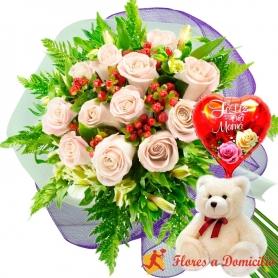 Ramo 12 Rosas Blancas más Globo día de la Madre y Peluche