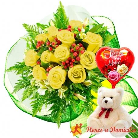 Ramo 12 Rosas Amarillas más Globo día de la Madre y Peluche