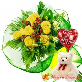 Ramo 6 Rosas Amarillas más Globo día de la Madre y Peluche
