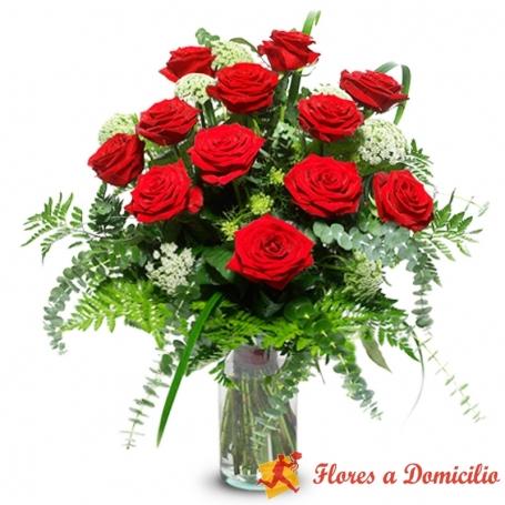 Florero de 12 Rosas Rojas