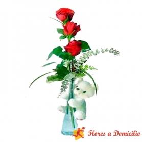 Florero 3 Rosas Rojas + Peluche