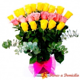 Florero 24 rosas Mix Amarillo - Rosado