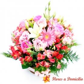 Canastillo Mediano de Flores Pink