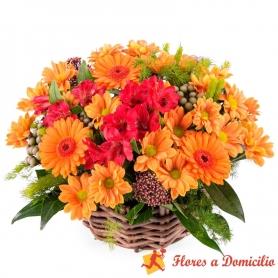 Canastillo de Flores Mix Tonos Naranjo
