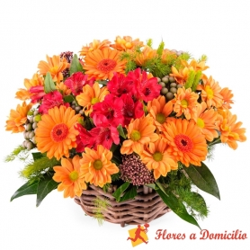 Canastillo Mediano de Flores Mix Tonos Naranjo