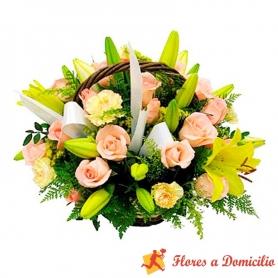 Canastillo Mediano con Flores - Amarillas