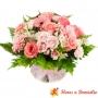 Canastillo con Flores en tonos rosas para regalar