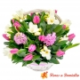 Canastillo con 10 Tulipanes más flores Mix