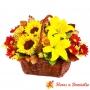 Cesta de Flores mediano con girasoles