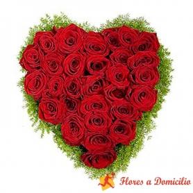 Canastillo Corazón de 24 Rosas rojas