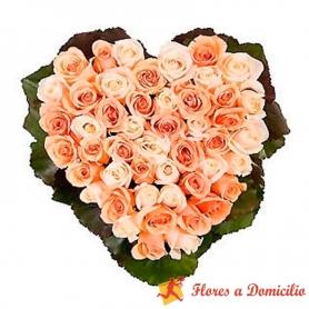 Canastillo Corazón 24 Rosas Rosadas