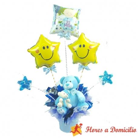 Arreglo de Nacimiento con globos y peluches para un recién nacido