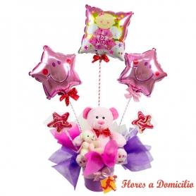 Arreglo de Nacimiento con globos y peluches para un recién nacida