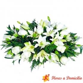 Flores Condolencia Cojin Rosas y Lilium