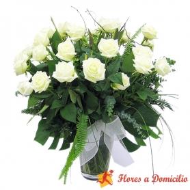 Flores Condolencia Florero Rosas Blancas