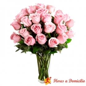 Florero de 24 Rosas Rosadas