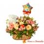Cesta de Flores Cumpleaños Gigante + Peluche + Globo