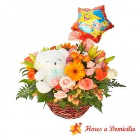Cesta de Flores Cumpleaños Mediano + Peluche + Globo