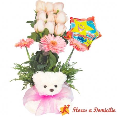 Arreglo de 9 Rosas Rosadas para Cumpleaños + Peluche + Globo