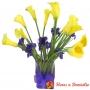 Florero con 10 Calas Amarillas + Iris Morados