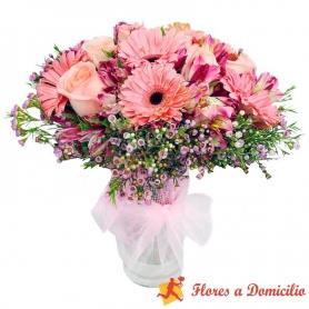 Florero con Flores Tono Rosa y Gerberas