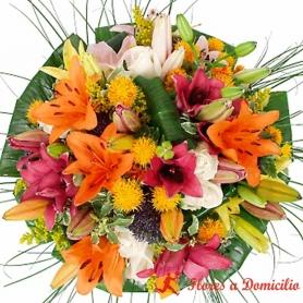 Ramo de 10 Varas de Liliums Multicolores más Flores Mix