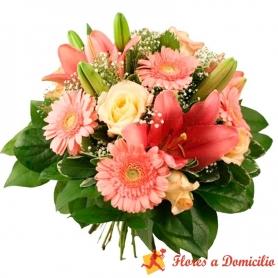 Ramo de Flores con Gerberas y Liliums Rosados Mediano