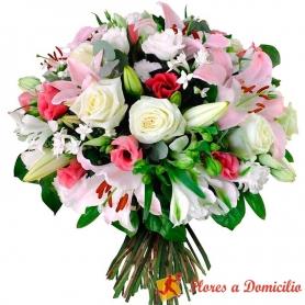 Ramo de Flores Grande con Gerberas Rosas LIliums más Flores Mix en Tonos Blacos y Rosados