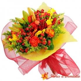 Ramos de Flores Primaveral En tonos Naranaja con Liliums Rosas Gerberas y Mix de Flores