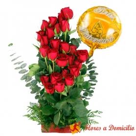 Canastillo de Aniversario Rosas Ascendentes