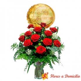 Florero de 12 Rosas Aniversario