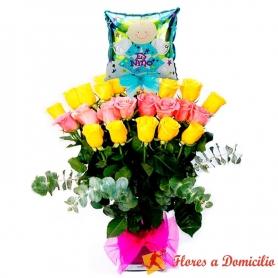 Florero para Nacimiento Bebe con 24 rosas Amarillas y Rosadas + Globo es un niño