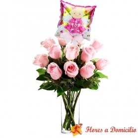 Florero con 12 Rosas Rosadas para Nacimiento con globo es una Niña