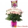 Florero Nacimiento con 24 Rosas MIx Blancas y Rosadas + Globo es una Niña
