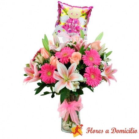 Florero Rosas Liliums y Gerberas Rosadas + Globo para Nacimiento NIña