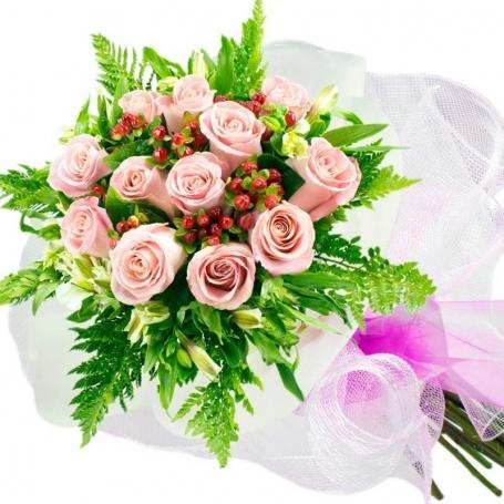 Ramo de 12 Rosas Rosadas para Nacimiento