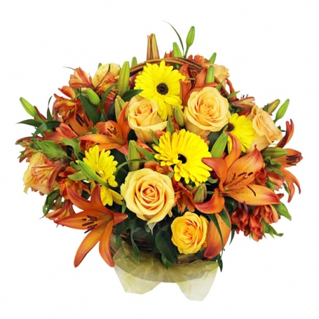 Canastillo de Rosas Damasco Liliums Naranjos