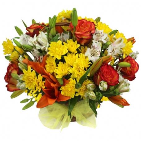Canastillo Mediano con Liliums Rosas y Flores Mix tonos Naranjos