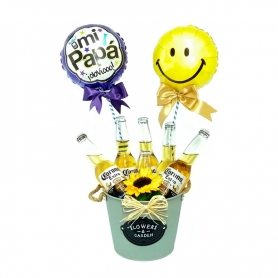 Cubeta Metálica con 6 Cervezas Corona de 355ml y 2 Globos