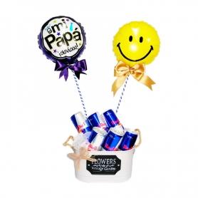 Cubeta Metálica con 6 Energéticas Red Bull y 2 Globos para el Día del padre