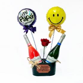 Cubeta Metálica con 2 Espumantes Brut y Rose más 2 Globos y 1 Rosa