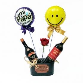 Cubeta Metálica con 1 Vino Casillero del Diablo mas 1 Baileys Espresso 1 Rosa y 2 Globos