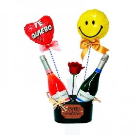 Cubeta con 2 Espumantes Brut y Rose más 2 Globos y 1 Rosa